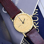 Womens 18k Gold U.s. 5 Gold Coin Corum Watch With Original Box, Manual And Warr