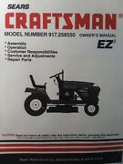 Sears Craftsman Riding Lawn 15.0 Tractor And Mower Owner And Parts Manual 917.258550