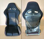 Real Black Carbon Fiber Shield Black Cloth Red Stitching Racing Seat With Slider