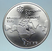 1973 Canada Queen Elizabeth Ii Olympics Montreal World Map Silver 5 Coin I83075
