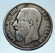 1869 Belgium With King Leopold Ii And Lion Genuine Silver 5 Francs Coin I83077