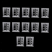 12 Pack 1/12 Mini White Window Frame Dollhouse Room Ornaments Role Playset