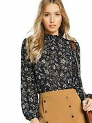 Floerns Womenand039s Floral Print High Neck Puff Long Sleeve Chiffon Blouse