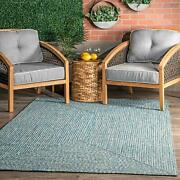 Nuloom Lefebvre Braided Indoor/outdoor Accent Rug 2and039 X 3and039 Aqua