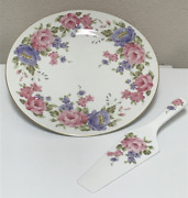 Andrea By Sadek Floral Cake Serving Plate And Server Pink Purple Flowers Gold Trim