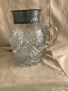 Antique Crystal Water Pitcher Silver Top Cut Glass Farmhouse