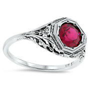 2 Ct Lab Ruby Antique Art Deco Style .925 Sterling Silver Filigree Ring Sz 9,85