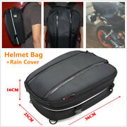 Motorcycle Bikes Helmet Bag Tail Seat Back Saddle Pack Carry Backpack+rain Cover