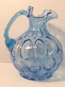 Vintage Signed Fenton Blue Coin Dot Small Pitcher