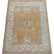 Decorative All-over Vegetable Dye Light Rust/blue Oushak Turkish Area Rug 9and039x12and039