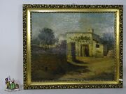 Painting Landscape Oil Table Wood Golden Frame Deco Roman Campaign Rome S Canino