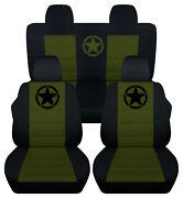 Front+back Car Seat Covers Blk-hunter Green Army Star Fits Jeep Compass/patriot