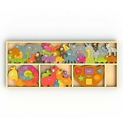 Beginagain Barlowe's Learning Box - 49 Pieces 4 Educational Puzzles In One Eco