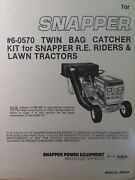 Snapper Rer Rider And Lawn Tractor Mower Twin Bag Grass Catcher 6-0570 Part Manual