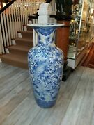 Large Antique Japanese Blue And White Porcelain Palace Vase With Hawks 1800and039s