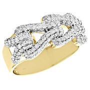 10k Yellow Gold Round Diamond Buckle Statement Ring 10mm Mens Fancy Band 1.47 Ct