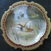 Limoges Water Fowl-game Bird 9.5 Plate Double Stamp Lri Artist-signed Muville 4