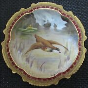 Limoges Water Fowl-game Bird 9.5 Plate Double Stamp Lri Artist-signed Muville 1