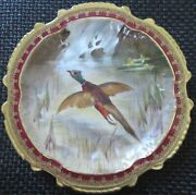 Limoges Water Fowl-game Bird 9.5 Plate Double Stamp Lri Artist-signed Muville 7