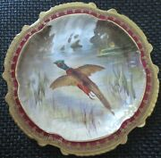 Limoges Water Fowl-game Bird 9.5 Plate Double Stamp Lri Artist-signed Muville 8