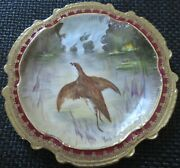 Limoges Water Fowl-game Bird 9.5 Plate Double Stamp Lri Artist-signed Muville 9