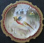 Limoges Water Fowl-game Bird 9.5 Plate Double Stamp Lri Artist-signed Muville 11