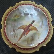 Limoges Water Fowl-game Bird 9.5 Plate Double Stamp Lri Artist-signed Muville 2
