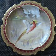 Limoges Water Fowl-game Bird 9.5 Plate Double Stamp Lri Artist-signed Muville 6