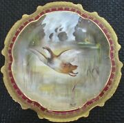 Limoges Water Fowl-game Bird 9.5 Plate Double Stamp Lri Artist-signed Muville 3