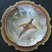 Limoges Water Fowl-game Bird 9.5 Plate Double Stamp Lri Artist-signed Muville 12