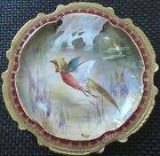 Limoges Water Fowl-game Bird 9.5 Plate Double Stamp Lri Artist-signed Muville 5