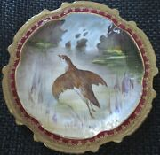 Limoges Water Fowl-game Bird 9.5 Plate Double Stamp Lri Artist-signed Muville 13