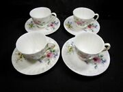 Royal Doulton England - Arcadia Pattern -  4 Cup And Saucer Sets -  Perfect