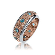 Deluxe 14k White And Rose Gold Decorative Filigree Blue Topaz Ring
