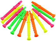 Etmact 5.5 Inches Plastic Recorders - Pack Of 12 - Mixed Color Plastic Flute Toy