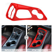 Central Gear Shift Panel Trim Cover For Dodge Challenger 2015-19 Accessories Red