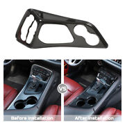 Central Gear Shift Water Cup Decor Panel For Dodge Challenger 2015+ Carbon Fiber