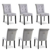 Set Of 6 Velvet Dining Chair Tufted Parson Chairs Kitchen Formal W/ Pull Ring