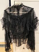 Victorian Goth Black Lace Rodarte Elaborate Draped Blouse Sweeping Sleeves Top M