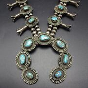 Classic Vintage Navajo Sterling Silver And Turquoise Squash Blossom Necklace 269g