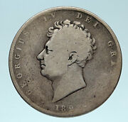 1825 Uk Great Britain United Kingdom King George Iv Silver 1/2 Crown Coin I83235