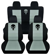 Front+back Car Seat Covers Blk-steel Gray W/ Punisher Fits Jeep Compass/patriot