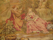 Nice Antique French Wall Tapestry Country Figures And Nature Scene 77x48
