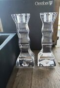 Pair Of Orrefors Sweden Cruise 6.25 Crystal Glass Candlesticks - New In Box