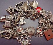 Vintage Us Travel Sterling Silver Charm Bracelet 128g 32charms Many Moving Parts