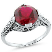 3.5 Ct. Lab Ruby Antique Design .925 Sterling Silver Filigree Ring Size 8, 184
