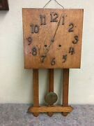 Large Arts And Crafts Period Wall Clock With Chime - For Repair/parts