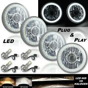 5-3/4 Projector White Smd Led Halo Crystal H4 Headlight And 6k Led Bulb Set Of 4