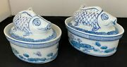 Antique Chinese Porcelain Blue And White Oval Lidded Koi Fish Bowl/tureens Lot 2