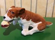 Beswick Dog Terrier Playful Puppies Caught It Model No. 2951 White And Tan Gloss